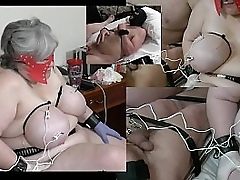 Granny has say no to udders shocked while a male slave gets his balls also shocked
