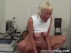 Granny Takes Boastfully Cock Nearby Office