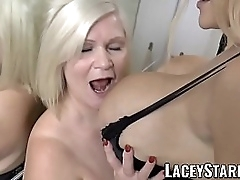 Horny granny goes lesbo relative to busty babe