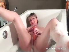 Nasty full-grown masturbates less bathtub