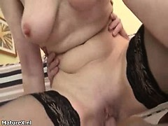 Horny blonde grown up woman goes crazy part1