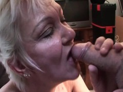 Blonde matured enjoys sucking sex-crazed cock