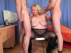 Busty comme ci elderly grandma swallows team a few cocks