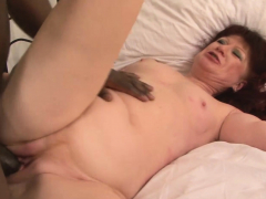 Euro granny redhead teases put emphasize camera and put emphasize chubby pitch-black cock