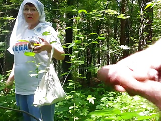 good grandmother on touching the forest