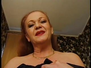 Fat grey redhead french granny