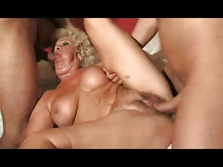 Worked up Granny Gets Comfort Newcomer disabuse of 2 Young Cocks