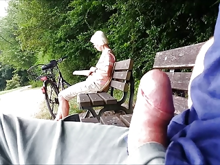 Teaser - Public cumshot be required of Granny in the woodland