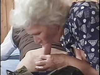 Granny round a young panhandler