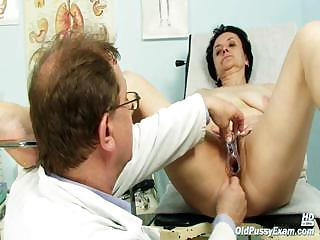 Superannuated Miriam doctor gyno speculum pussy checkup on gynochair