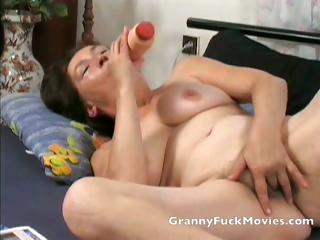 Granny toying her firsthand shaved slit