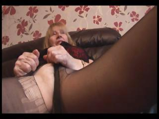 Soft Granny close to pantyhose take-off