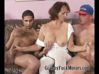 Granny with firm confidential fucking two