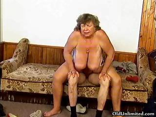 Dirty grandma with big breast riding part5