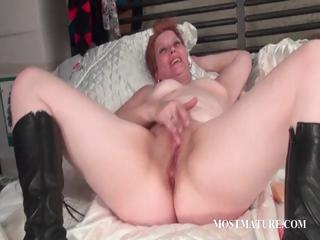 Dildo shacking up connected with matured redhead
