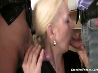 She swallows two cocks be required of work
