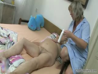 Horny old woman goes crazy getting her part6