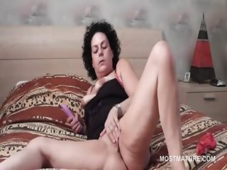 Lusty sexy full-grown using vibrator nearly reach orgasm