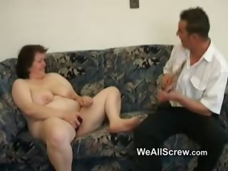Younger mendicant dildos elderly womans ass and fucks her