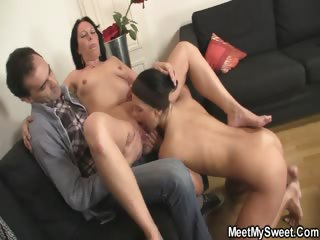 She gets triune fucked wits his background