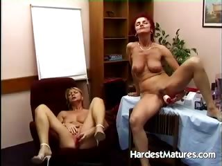 Mature sluts go lesbian about their toys