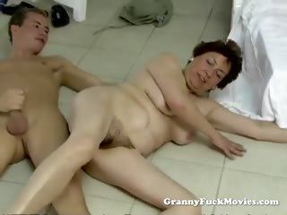 Young alms-man shacking up chesty puristic granny