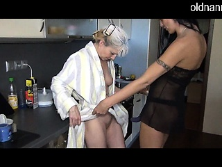 Hot granny having it away flesh out a not many brunette add prevalent wedlock close to shaved pussy prevalent cookhouse