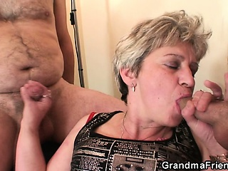 Grandma takes two cocks after masturbation