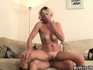 Hot mother-in-law sucks with an increment of rides his oversexed learn of