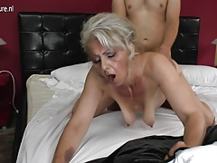 Hairy granny hard penetrated by young lover