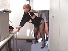 Office Grandmother Fucked  in stockings