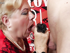 Old and young gangbang with 2 grandmothers