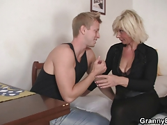 Older blonde is doggy-style porked