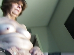Real amateur grandmother sprays like whore