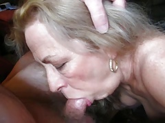 Blonde grannie sucks coock her