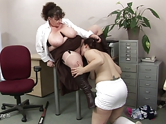 Big titted mature  nails a super-fucking-hot schoolgirl babe