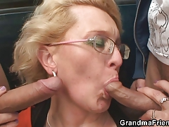 Two dudes pick up senior bitch and fuck her hard