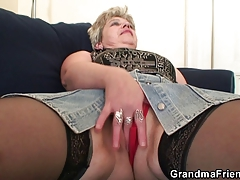 Wild granny takes two cocks