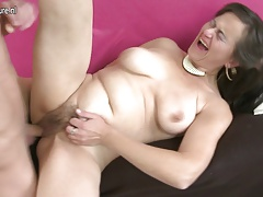 Hairy Mature MOM Squirting and tearing up her Boy