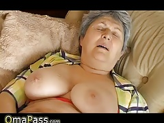 Grandma with yam-sized sagging tits tugging on the