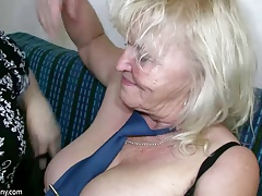 OldNanny Mature with big boobs jerk with chubby Granny