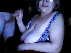 Russian grandma flashing huge milk cans n sucking   cam