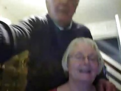 Aged duo on web cam