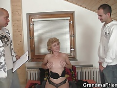 Skinny grannie opens up  for two cocks