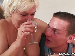 Her blonde old mom and bf taboo fuckfest