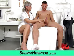 A boy cum on orbs of steaming skinny milf doctor Beate