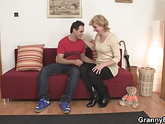 Cute mature lady and man