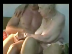 Very elderly grandmother used by younger man. Inexperienced old