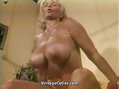 Bulky Chesty Granny Hoists Weights all Naked (Vintage)