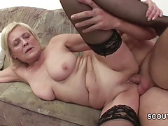 Grandson Seduce Blonde Granny to Plow and Cum